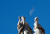 Un gabbiano vola sopra le statue del colonnato della Basilica con la luna sullo sfondo durante l'udienza generale del mercoled&igrave; in Piazza San Pietro. Citt&agrave; del Vaticano, 19 aprile  2017.<br /> A seagull flies over statues with the moon in the background during the weekly general audience at St Peter's square at the Vatican, on April 19 2017.<br /> UPDATE IMAGES PRESS/Isabella Bonotto<br /> <br /> STRICTLY ONLY FOR EDITORIAL USE