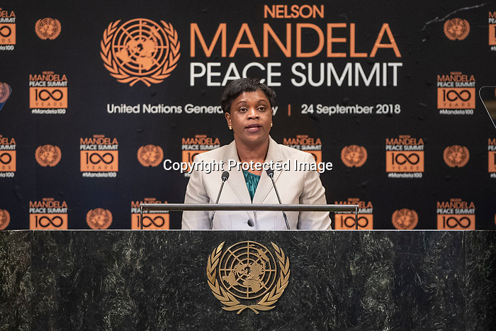 Opening Plenary Meeting of the Nelson Mandela Peace Summit<br /> <br /> Her Excellency Leona MARLIN-ROMERO Prime Minister of Sint Maarten of the Kingdom of the Netherlands