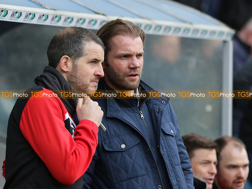 MK Dons Assistant Manager, Stevie Crawford, talks tactics with Manager, Robbie Neilson during Millwall vs MK Dons, Sky Bet EFL League 1 Football at The Den on 4th March 2017