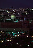 Jerusalem, Israel, November, 1980. Night view of the Dome of the Rock.