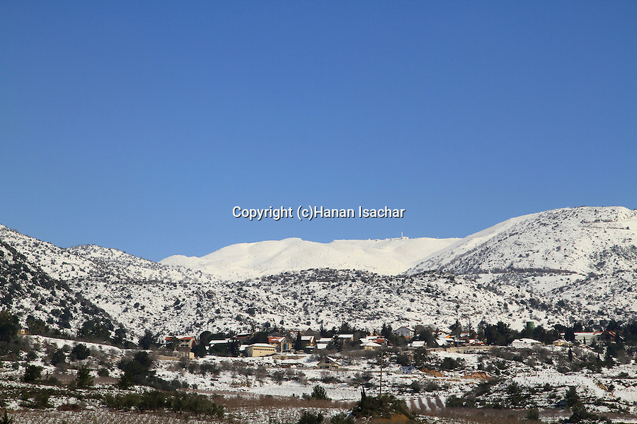 The Golan Heights, a view from Nabi Hazuri, Neve Ativ and Mount Hermon are in the background