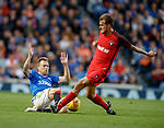 15.08.2019 Rangers v FC Midtjylland: Scott Arfield tackles to set up the cross for Sheyi Ojo's goal
