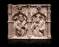 Gothic alabaster relief sculpture of two profits by Pere Oller, circa 1415, from the convent del Carme, Girona, Spain..  National Museum of Catalan Art, Barcelona, Spain, inv no: MNAC 214163. Against a black background.
