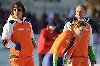 SCHAATSEN: BOEDAPEST: Essent ISU European Championships, 07-01-2012, coaches Bart Veldkamp en Gerard Kemkers, Ireen Wüst NED na afloop van de 1500m, ©foto Martin de Jong