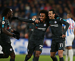 Pedro of Chelsea (r) celebrates scoring the third goal with Victor Moses and Willian of Chelsea during the premier league match at the John Smith's Stadium, Huddersfield. Picture date 12th December 2017. Picture credit should read: Simon Bellis/Sportimage