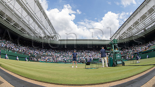July 10th 2017, All England Lawn Tennis and Croquet Club, London, England; The Wimbledon Tennis Championships, Day 7; A wide angle general view of Centrte Court from grass court level