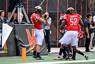 College Park, MD - SEPT 22, 2018: Maryland Terrapins linebacker Tre Watson (33) celebrates his interception for a touchdown during game between Maryland and Minnesota at Capital One Field at Maryland Stadium in College Park, MD. The Terrapins defeated the Golden Bears 42-13 to move to 3-1 on the season. (Photo by Phil Peters/Media Images International)