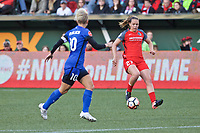 Portland, OR - Saturday May 06, 2017: Vanessa DiBernardo, Meghan Cox during a regular season National Women's Soccer League (NWSL) match between the Portland Thorns FC and the Seattle Reign FC at Providence Park.