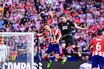 Gabriel Fernandez Arenas of Atletico de Madrid (L) fights for the ball with Enrique Garcia of SD Eibar (R) during the La Liga match between Atletico Madrid and Eibar at Wanda Metropolitano Stadium on May 20, 2018 in Madrid, Spain. Photo by Diego Souto / Power Sport Images