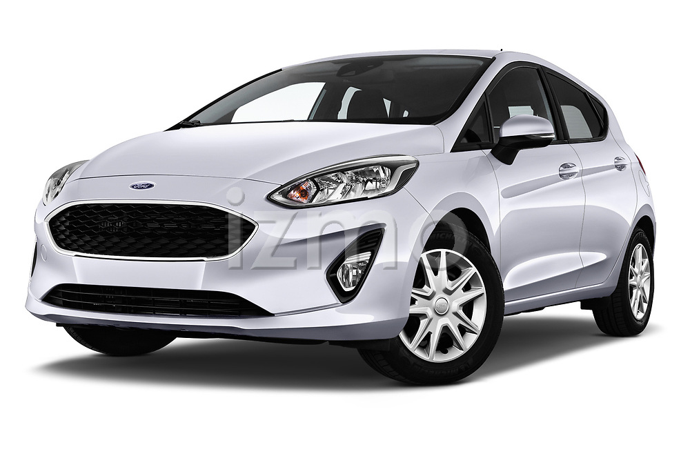 Stock pictures of low aggressive front three quarter view of 2017 Ford Fiesta Business-Class 5 Door Hatchback Low Aggressive