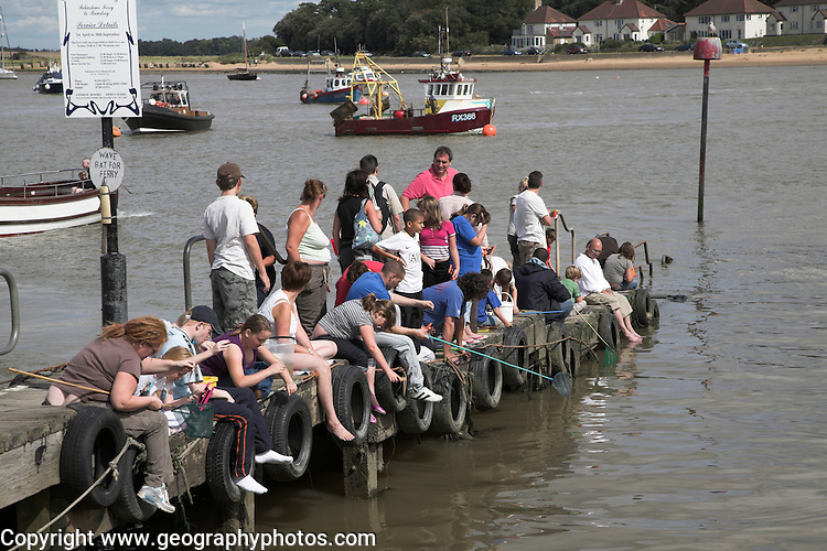 Crabbing from the jetty. Small fishing and sailing hamlet of Felixstowe Ferry at the mouth of the River Deben, Suffolk, England