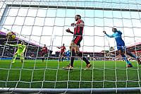 AFC Bournemouth keeper Asmir Begovic left watches the shot of Hector Bellerin of Arsenal hit the net as Simon Francis of AFC Bournemouth middle despairs during AFC Bournemouth vs Arsenal, Premier League Football at the Vitality Stadium on 14th January 2018