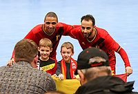 20200201 Herentals , BELGIUM :  Belgian Ibrahim Adnane (8) and Mohamed Dahbi Reda (5) poses with fans after the  futsal indoor soccer game between the Belgian Futsal Devils of Belgium and Montenegro on the third and last matchday in group B of the UEFA Futsal Euro 2022 Qualifying or preliminary round , Saturday 1st February 2020 at the Sport Vlaanderen sports hall in Herentals , Belgium . PHOTO SPORTPIX.BE | Sevil Oktem