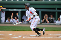 Center fielder Kyle Lewis (20) of the Mercer Bears bats against Western Carolina in Game 2 of the SoCon Tournament championship series on Sunday, May 29, 2016, at Fluor Field at the West End in Greenville, South Carolina. Western won, 3-2. (Tom Priddy/Four Seam Images)