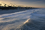 Waves breaking at sunrise at Oceanside Beach, Oceanside, San Diego County, CALIFORNIA