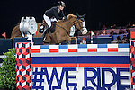 Pilar Lucrecia Cordon of Spain riding Gribouille du Lys competes during the Longines Grand Prix, part of the Longines Masters of Hong Kong on 12 February 2017 at the Asia World Expo in Hong Kong, China. Photo by Juan Manuel Serrano / Power Sport Images
