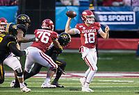 Hawgs Illustrated/BEN GOFF <br /> Jack Lindsey, Arkansas quarterback, throws a pass in the fourth quarter vs Missouri Saturday, Nov. 29, 2019, at War Memorial Stadium in Little Rock.