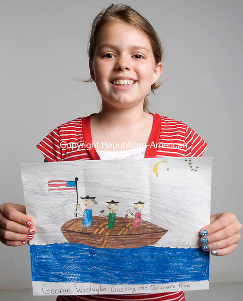 WATERBURY, CT- 01 JULY 2008- 070108JT03-<br /> Hannah Crosby, 10, of Waterbury, won 2nd place for her poster in the Republican-American's Flag Day Coloring Contest.<br /> Josalee Thrift / Republican-American