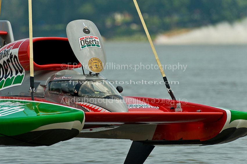 "6 July 2008 Madison Regatta.U-6 ""Oh Boy! Oberto"" is lifted into the water..©2008 F.Peirce Williams."