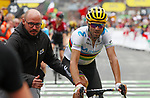 World Champion Alejandro Valverde (ESP) Movistar Team crosses the finish line in 2nd place at the end of Stage 20 of the 2019 Tour de France running 59.5km from Albertville to Val Thorens, France. 27th July 2019.<br /> Picture: Colin Flockton | Cyclefile<br /> All photos usage must carry mandatory copyright credit (© Cyclefile | Colin Flockton)