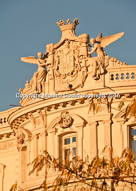 Detail of the statues on the Latin American Cultural Center, a 19th century palace on the Calle de Alcala