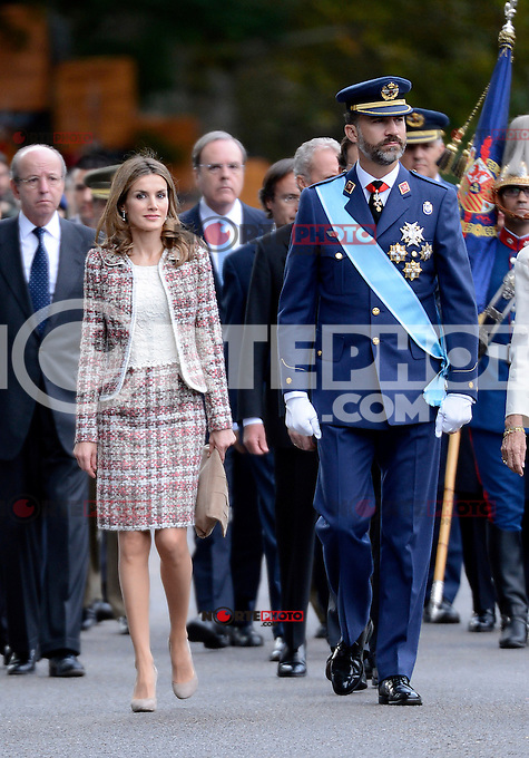 Princes Felipe and Letizia of Spain attend the National Day Military Parad.October 12,2012.(ALTERPHOTOS/Pool) /NortePhotoAgency