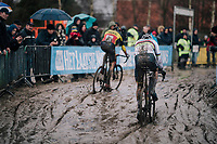 CX World Champion Mathieu Van Der Poel (NED/Correndon-Circus) chasing Belgian National CX Champion Toon Aerts (BEL/Telenet Fidea Lions) in the mud<br /> <br /> Superprestige cyclocross Hoogstraten 2019 (BEL)<br /> Elite Men's Race<br /> <br /> &copy;kramon