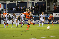 Cameron McGeehan of Luton Town scores his second penalty of the game to make it 2-1during the Sky Bet League 2 match between Luton Town and Newport County at Kenilworth Road, Luton, England on 16 August 2016. Photo by David Horn.