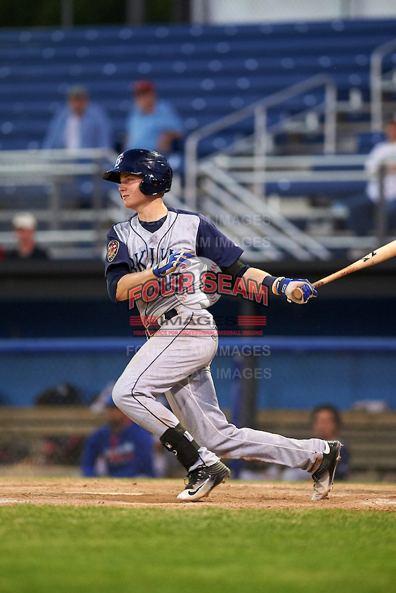 Brooklyn Cyclones catcher Dan Rizzie (33) at bat during a game against the Batavia Muckdogs on July 5, 2016 at Dwyer Stadium in Batavia, New York.  Brooklyn defeated Batavia 5-1.  (Mike Janes/Four Seam Images)