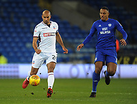 Bolton Wanderers' Karl Henry under pressure from Cardiff City's Kenneth Zohore<br /> <br /> Photographer Kevin Barnes/CameraSport<br /> <br /> The EFL Sky Bet Championship - Cardiff City v Bolton Wanderers - Tuesday 13th February 2018 - Cardiff City Stadium - Cardiff<br /> <br /> World Copyright &copy; 2018 CameraSport. All rights reserved. 43 Linden Ave. Countesthorpe. Leicester. England. LE8 5PG - Tel: +44 (0) 116 277 4147 - admin@camerasport.com - www.camerasport.com