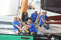 ZEILEN: LEMMER: Lemster baai, 31-07-2014, SKS skûtsjesilen, Ljouwerter skûtsje, fokkenist Sander Meeter, ©foto Martin de Jong