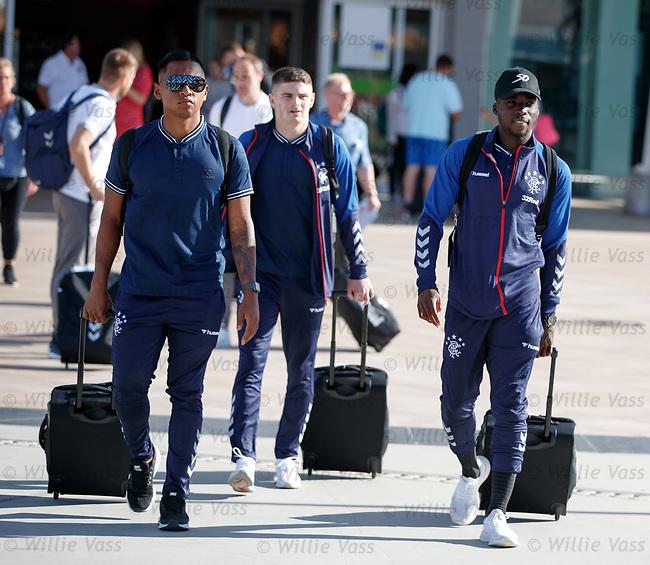 22.06.2019 Rangers arrive in Portugal: Alfredo Morelos, Jake Hastie and Sheyi Ojo