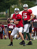 New York Jets quarterback Sam Darnold (14) looks for a receiver as quarterback Josh McCown (15) looks on as they participate in a joint training camp practice with the Washington Redskins at the Washington Redskins Bon Secours Training Facility in Richmond, Virginia on Monday, August 13, 2018.<br /> Credit: Ron Sachs / CNP<br /> (RESTRICTION: NO New York or New Jersey Newspapers or newspapers within a 75 mile radius of New York City)