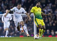 12.12.2013 London, England. Anzhi Makhachkala midfielder Jucilei (8) tracked by Tottenham Hotspur defender Ezekiel Fryers (35) during the Europa League game between Tottenham Hotspur and Anzhi Makhachkala from White Hart Lane.