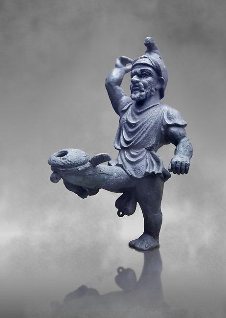 Erotic bronze oil lamp configured as a dancing midget, found in Pompeii,  Secret Museum or Secret Cabinet, Naples Archaeological Museum , grey art background