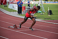 Tuesday 15th July 2014<br /> Pictured: Christian Malcolm <br /> RE: Christian Malcolm, sprinting out of the starting blocks competing in the Welsh Athletics International 4x100m relay at Cardiff International Sports Stadium, South Wales, UK. Running his last race on home soil.