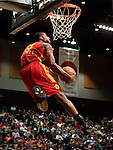 Fort Wayne Mad Ants' Tony Mitchell competes in the slam dunk competition in the NBA D-League Showcase at the Reno Events Center, in Reno, Nev., on Wednesday Jan. 9, 2013..Photo by Cathleen Allison