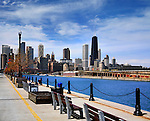 Half Of The Chicago Skyline As Seen From The Parking Garage Side Of Navy Pier On A Beautiful Day In Chicago Illinois, USA