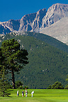 golf, golfing, 18-hole course, summer, morning, Longs Peak, Estes Park, Colorado, Rocky Mountains, USA