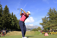 Lucas Bjerregaard (DEN) on the 18th tee during Saturday's Round 3 of the 2018 Omega European Masters, held at the Golf Club Crans-Sur-Sierre, Crans Montana, Switzerland. 8th September 2018.<br /> Picture: Eoin Clarke | Golffile<br /> <br /> <br /> All photos usage must carry mandatory copyright credit (&copy; Golffile | Eoin Clarke)