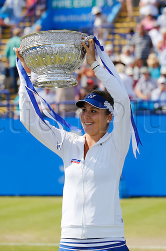 27.06.2015 Eastbourne, England. Aegon International Eastbourne Tennis Tournament Belinda Bencic (SUI) with trophy after wining her Women's singles final against Radwanska  at Devonshire park.