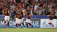 Calcio, Champions League, Gruppo E: Roma vs Barcellona. Roma, stadio Olimpico, 16 settembre 2015.<br /> Roma's Alessandro Florenzi, third from left, is hugged by teammates after scoring during a Champions League, Group E football match between Roma and FC Barcelona, at Rome's Olympic stadium, 16 September 2015.<br /> UPDATE IMAGES PRESS/Isabella Bonotto