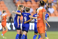 Houston, TX - Sunday Sept. 25, 2016: Beverly Yanez, Kim Little celebrates scoring, Nahomi Kawasumi during a regular season National Women's Soccer League (NWSL) match between the Houston Dash and the Seattle Reign FC at BBVA Compass Stadium.