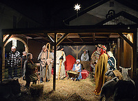 Congregation members participate in a living nativity scene Monday December 21, 2015 at Fallsington United Methodist Church in Fallsington, Pennsylvania. (Photo by William Thomas Cain)