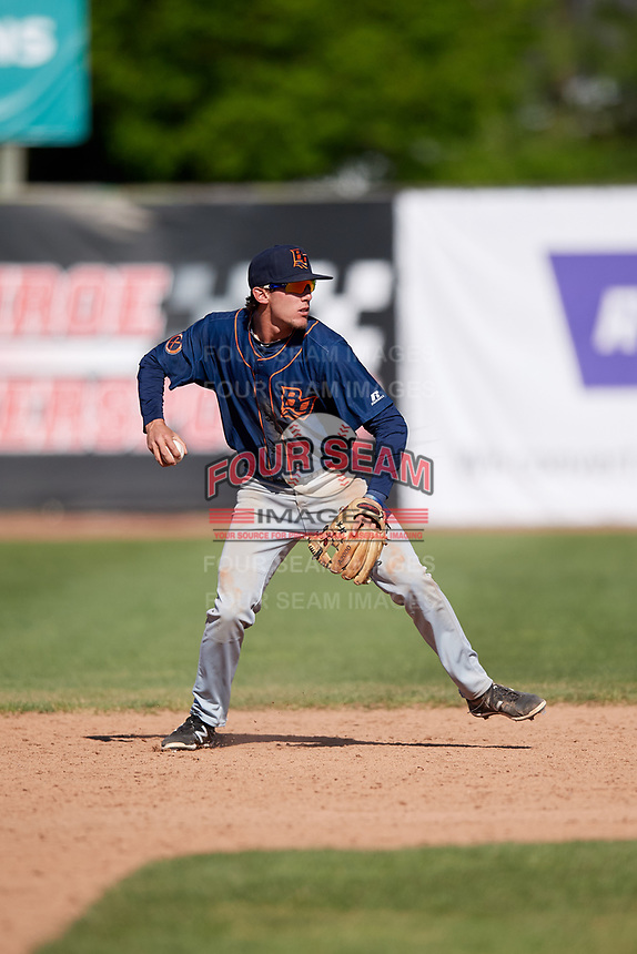Bowling Green Hot Rods second baseman Miles Mastrobuoni (2) throws to first base during a game against the Beloit Snappers on May 7, 2017 at Pohlman Field in Beloit, Wisconsin.  Bowling Green defeated Beloit 6-2.  (Mike Janes/Four Seam Images)