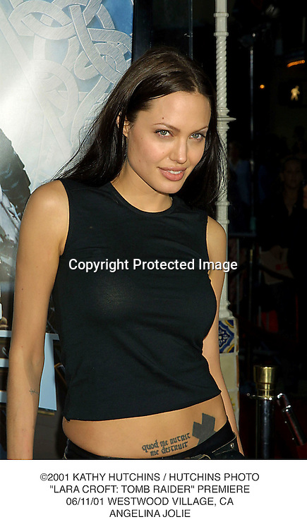 "©2001 KATHY HUTCHINS / HUTCHINS PHOTO.""LARA CROFT: TOMB RAIDER"" PREMIERE.06/11/01 WESTWOOD VILLAGE, CA.ANGELINA JOLIE"