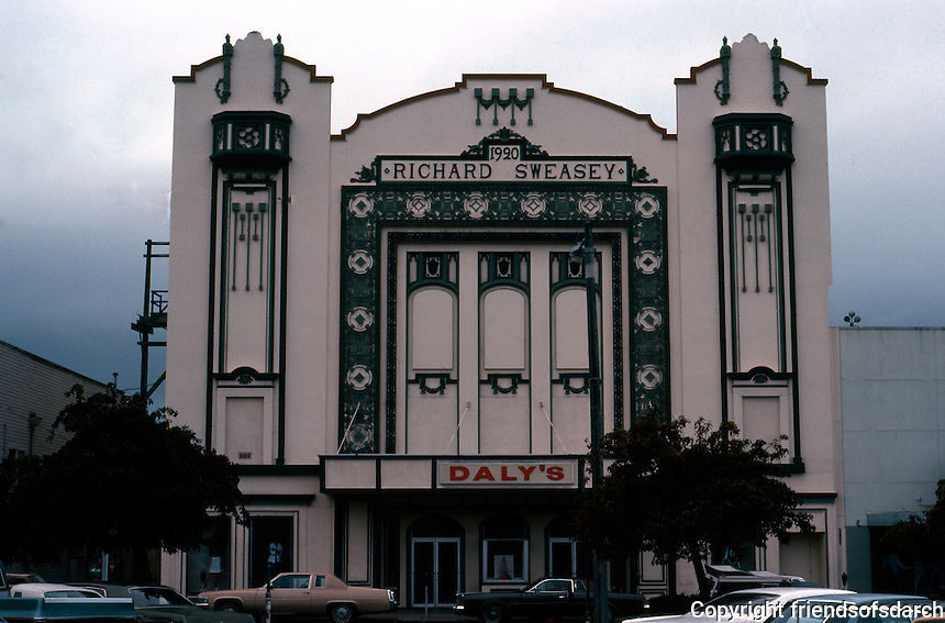 Movie Theatres: Eureka, CA. State Theatre, 1920. Richard Sweasey, Arch. G St. between 4th &  5th. Sullivanesque ornament--the architect's name prominently displayed.  Photo 1982.