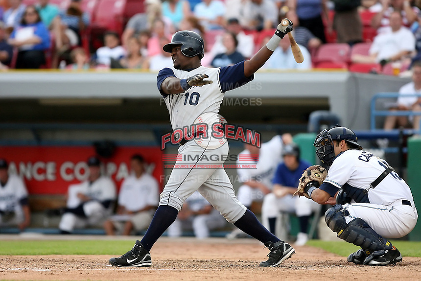 June 15 2008:  First baseman Felix Carrasco (10) of the Fort Wayne Wizards, Class-A affiliate of the San Diego Padres, during a game at Fifth Third Field in Comstock Park, MI.  Photo by:  Mike Janes/Four Seam Images