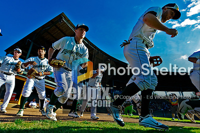 8 July 2012: The Vermont Lake Monsters take the field to start a game against the State College Spikes at Centennial Field in Burlington, Vermont. The Lake Monsters rallied from a 2-0 late inning deficit, to defeat the Spikes 8-2 in NY Penn League action. Mandatory Credit: Ed Wolfstein Photo