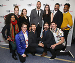Riti Sacheva, Morgan Gould, Sam Salmond, Deborah Yarchun, Oliver Houser, Eric Micha Holmes, Janine McGuire, Hunter Bird, Jeremy J. King, Arri Lawton Simon and Keelay Gipson attend the reception for the 2018 Presentation of New Works by the DGF Fellows on October 15, 2018 at the Playwrights Horizons Theatre in New York City.
